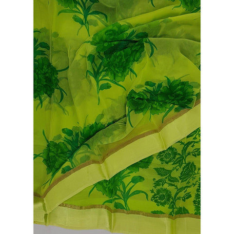 Yellow and green color floral chiffon saree with satin border