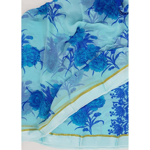 Sky blue color floral chiffon saree with satin border - Vinshika