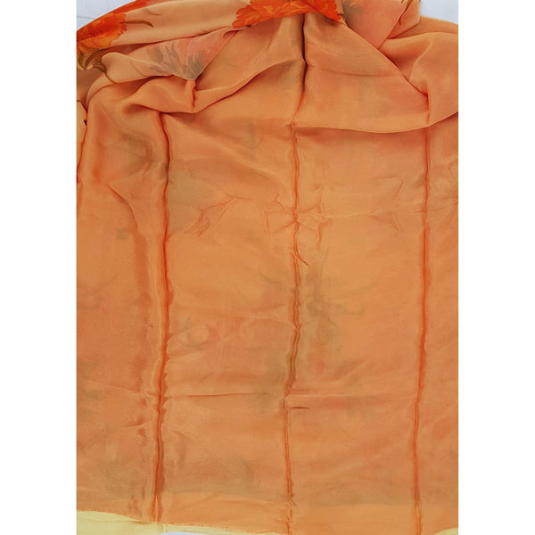 Saffron color floral chiffon saree with satin border - Vinshika