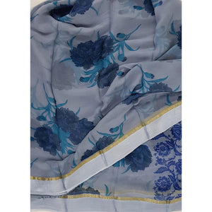 Slate color floral chiffon saree with satin border