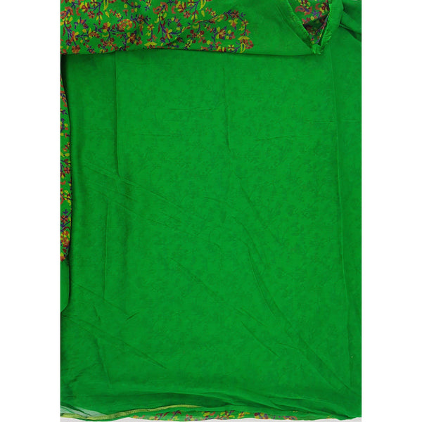 Green color floral printed chiffon saree - Vinshika