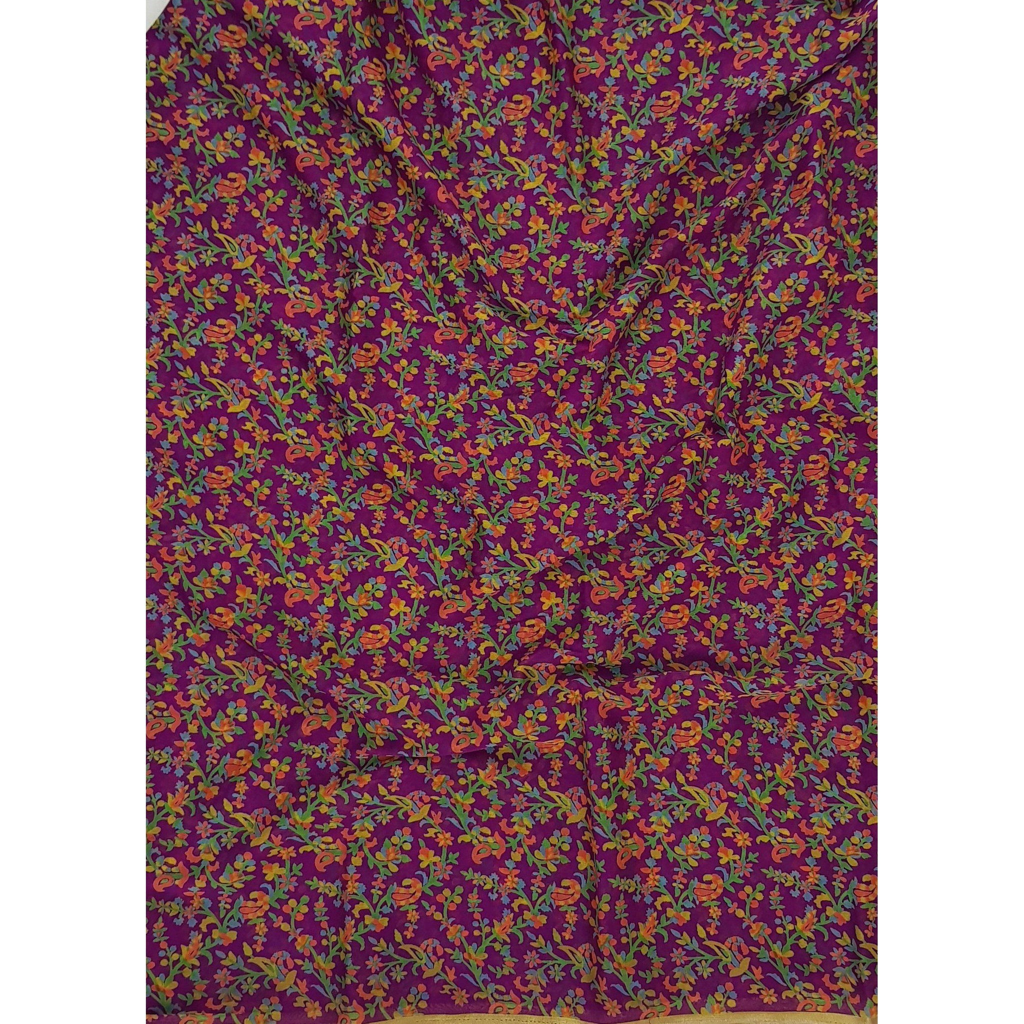 Purple color floral printed chiffon saree - Vinshika
