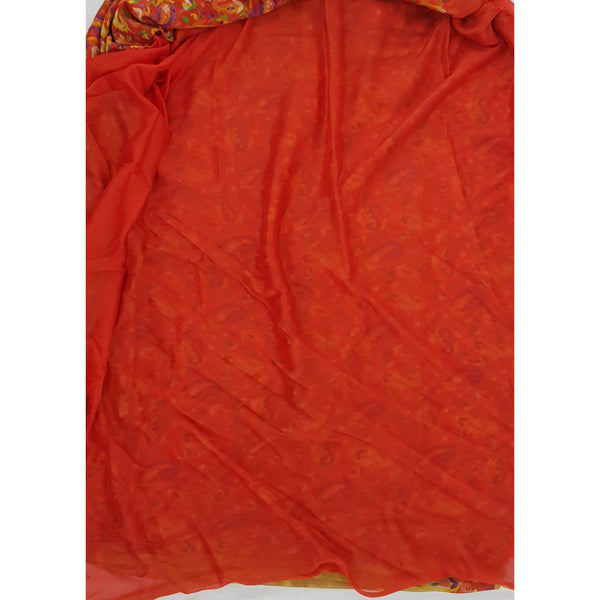 Orange color floral printed chiffon saree - Vinshika