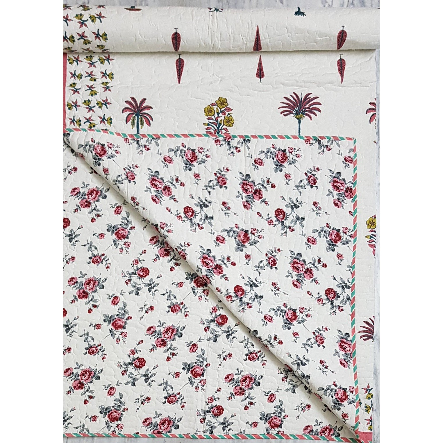 Bagru Hand Printed Reversible Double Bed Cotton Quilt - Vinshika