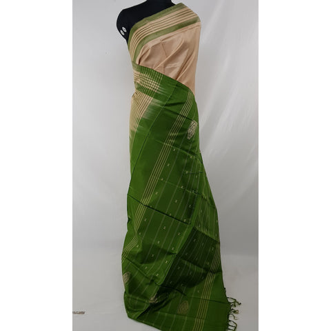 Cream Color Handwoven Chinnalapattu saree - Vinshika