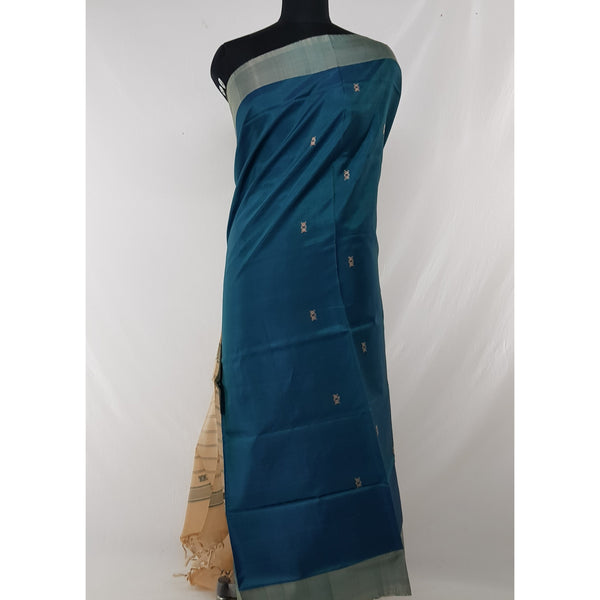 Deep Navy Color Handwoven Chinnalapattu saree - Vinshika