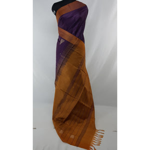 Brinjal Color Handwoven Chinnalapattu saree - Vinshika