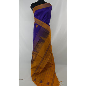 Royal Blue Color Handwoven Chinnalapattu saree