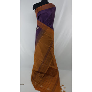 Dark Violet Color Handwoven Chinnalapattu saree - Vinshika