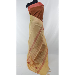 Coral Color Handwoven Chinnalapattu saree - Vinshika