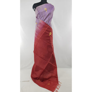 Light Lavender and Maroon Color Handwoven Chinnalapattu saree - Vinshika