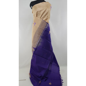 Cream and Blue Color Handwoven Chinnalapattu saree - Vinshika