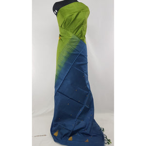Green and Blue Color Handwoven Chinnalapattu saree