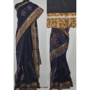 Dark blue color Block Printed in Natural Colors Chanderi Saree With big zari border - Vinshika