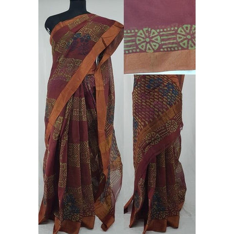 Maroon color Block Printed in Natural Colors Chanderi Saree With big zari border