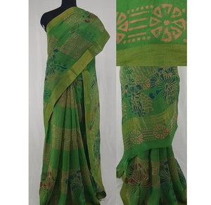 Green color Bagru Block Printed in Natural Colors Chanderi Saree With big  zari border - Vinshika