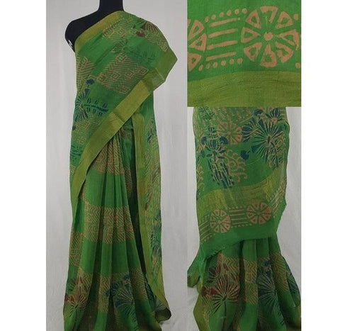 Green color Block Printed in Natural Colors Chanderi Saree With big  zari border - Vinshika