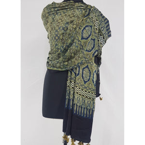 Ajrakh hand block natural dyed Modal Silk dupatta with Tassels - Vinshika