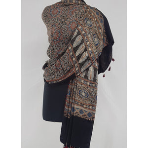 Ajrakh hand block natural dyed Modal Silk dupatta with Tassels
