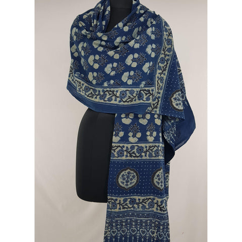 Ajrakh hand block printed natural dyed cotton dupatta - Vinshika