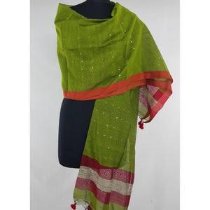 Sequin hand woven cotton silk dupatta - Vinshika