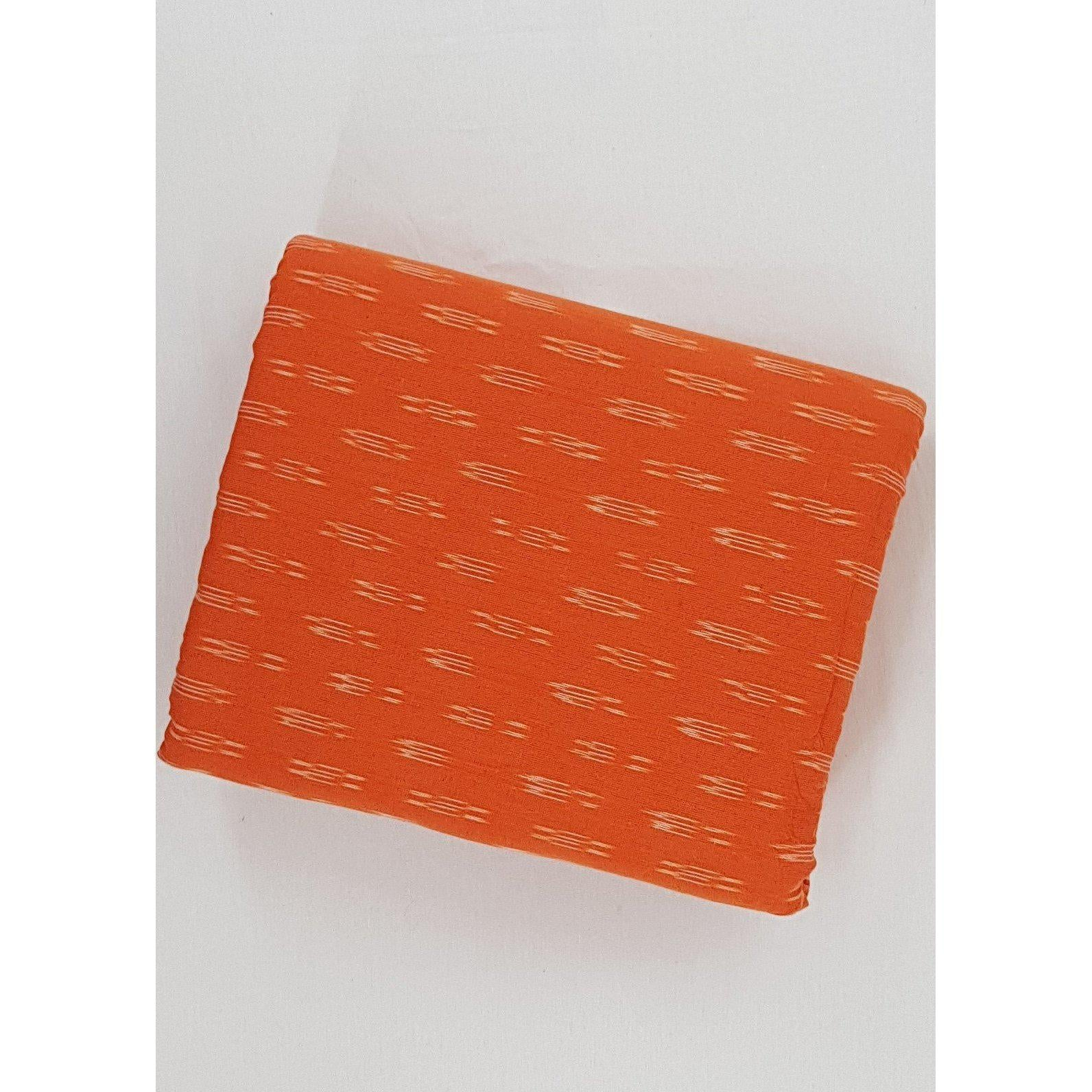 Alphonso Orange color ikat handwoven cotton fabric - Vinshika