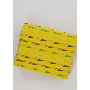 Yellow color ikat handwoven cotton fabric - Vinshika