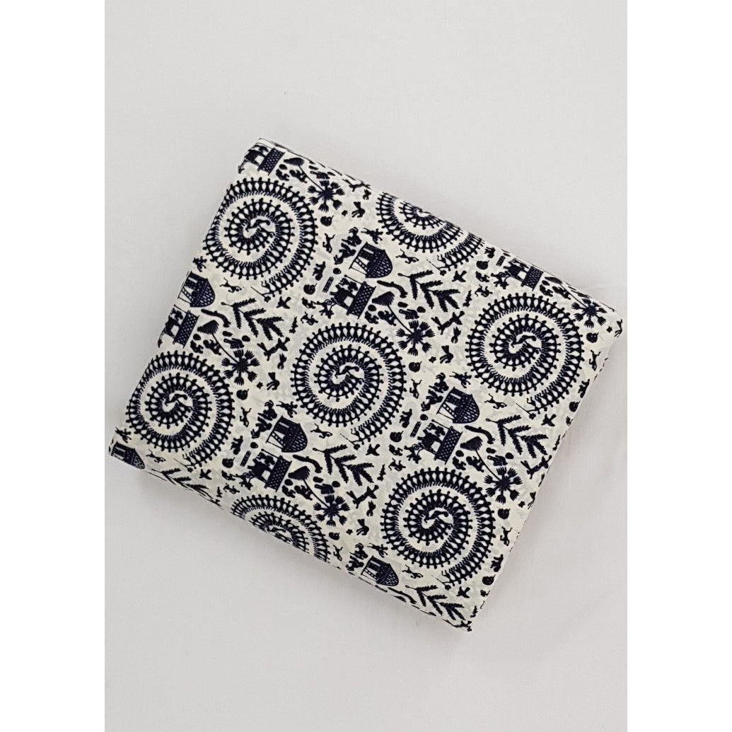 White and Black color hand block printed Bagru cotton fabric - Vinshika