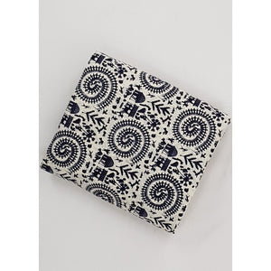 White and Black color hand block printed Bagru cotton fabric