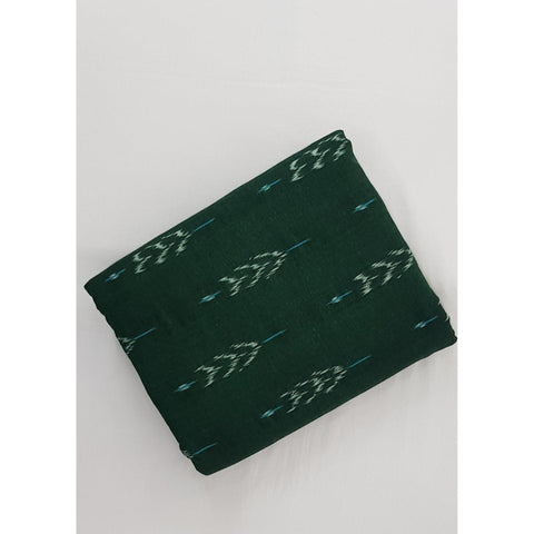 Fern Green color Handwoven Ikat cotton fabric - Vinshika