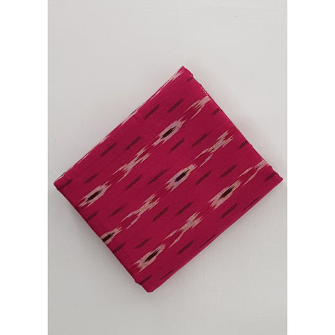 Redish Pink color Handwoven Ikat cotton fabric - Vinshika