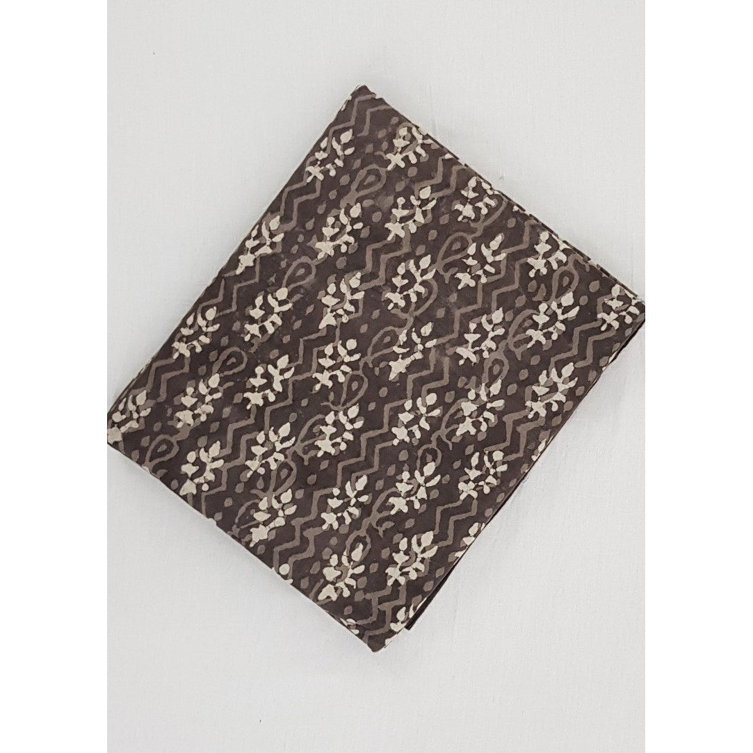 Brown color hand block printed Bagru cotton fabric - Vinshika
