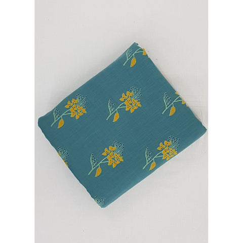 Aqua Blue color hand block printed Bagru cotton fabric - Vinshika