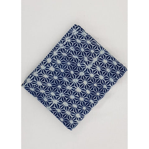 Indigo Blue color hand block printed Bagru cotton fabric - Vinshika