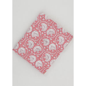Pink and white color hand block printed Bagru cotton fabric - Vinshika