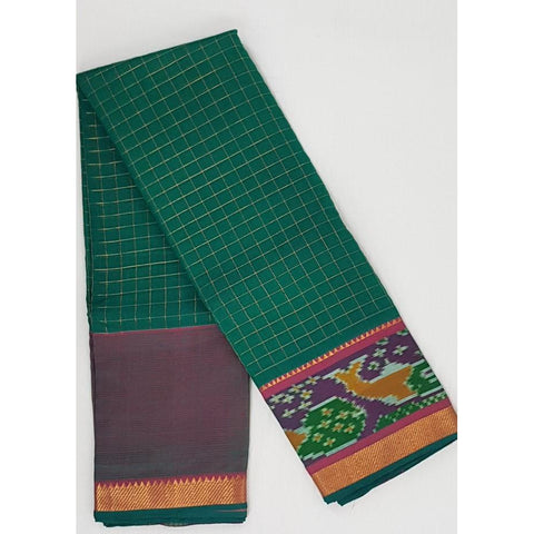 Green and Pink color Mangalagiri silk saree with golden zari border - Vinshika
