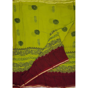 Hand Printed Georgette saree with small zari border - Vinshika