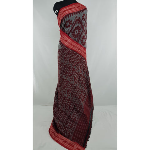 Handloom sambalpuri ikat pure cotton saree with Ikat blouse - Vinshika