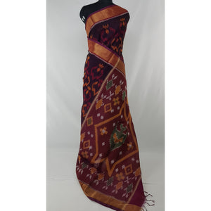Pochampally ikat cotton silk saree with zari border - Vinshika