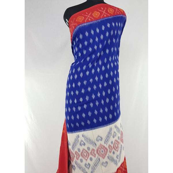 Handloom pochampally ikat mercerized cotton saree, no blouse - Vinshika