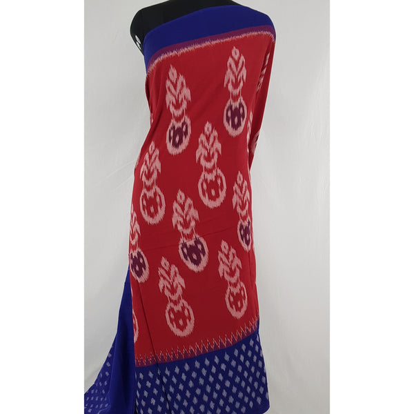 Handloom pochampally ikat mercerized cotton saree with blouse - Vinshika