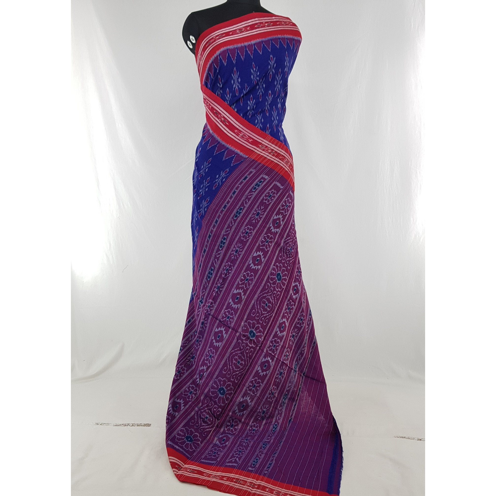 Handloom Sambalpuri ikat cotton saree with blouse - Vinshika
