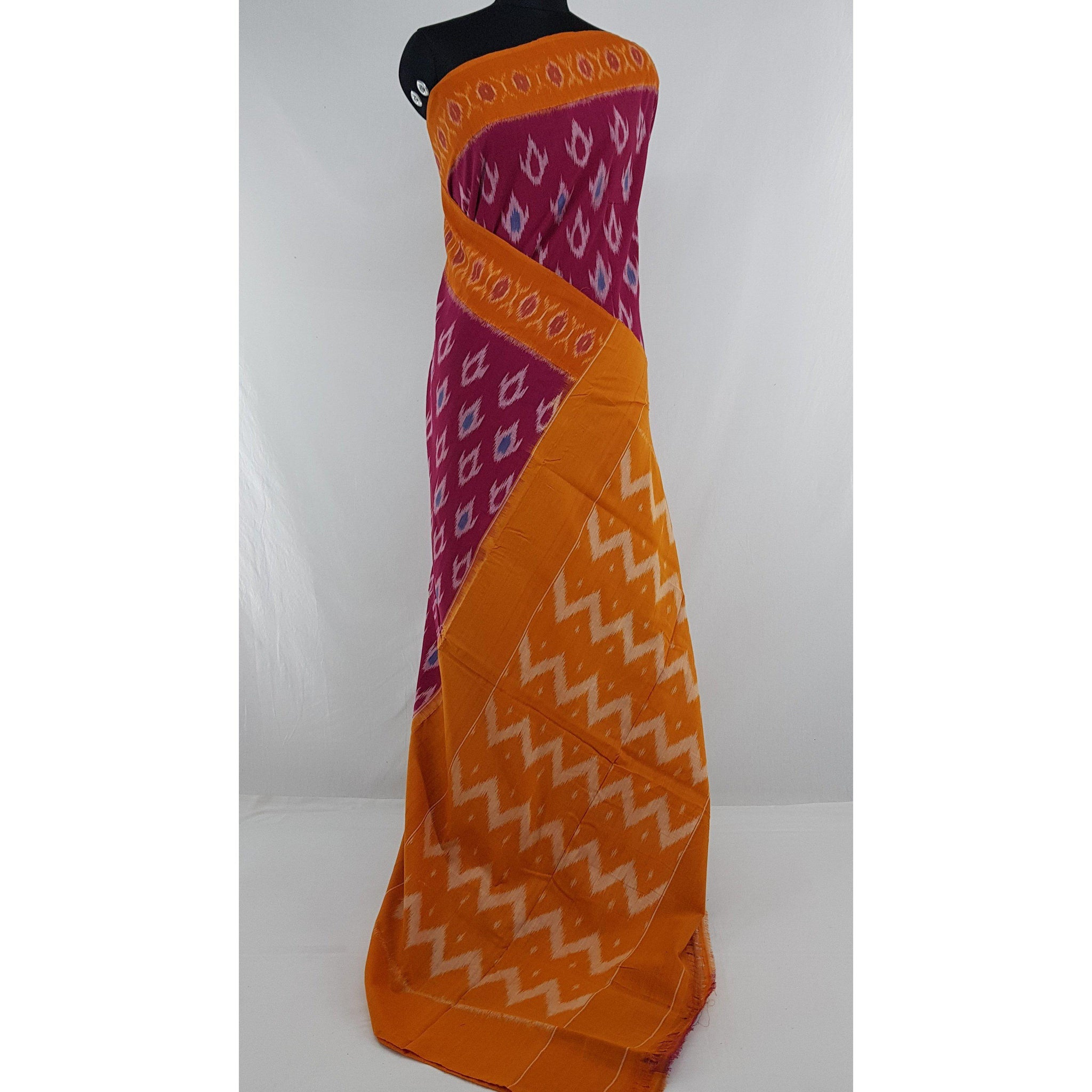 Handloom pochampally ikat mercerized cotton saree - Vinshika