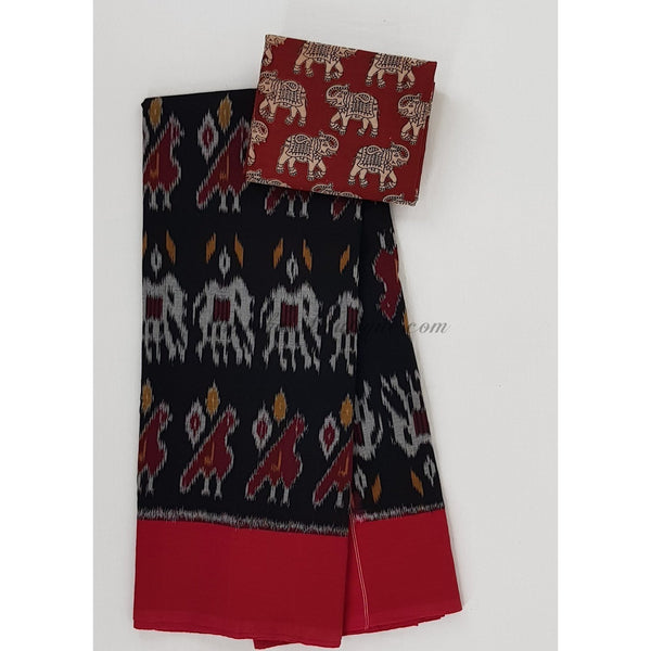 Handloom pochampally ikat mercerized cotton saree with kalamkari blouse - Vinshika