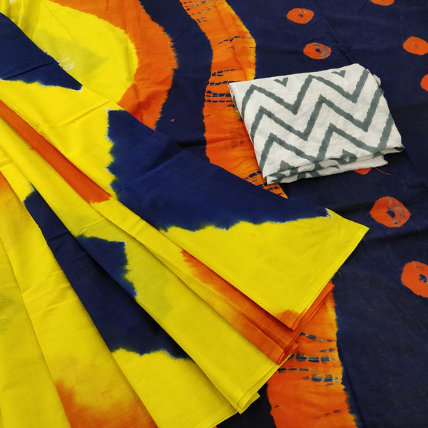 Bagru yellow and blue color mul cotton pom pom saree - Vinshika
