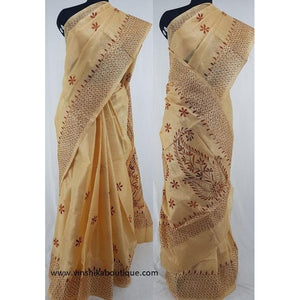 Half white color Tussar silk hand embroidered kantha work saree - Vinshika