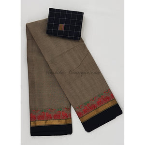 Kanchi cotton saree with zari and thread border - Vinshika