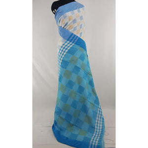 Cream and Blue color checks hand woven Khadi cotton saree - Vinshika