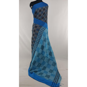 Ash and Blue color checks hand woven Khadi cotton saree - Vinshika