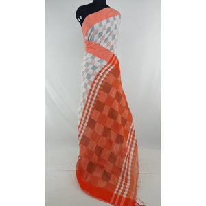 Cream and Orange color checks hand woven Khadi cotton saree - Vinshika